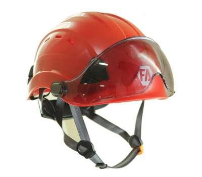Каска для промальпа с защитным щитком First Ascent Vysotik Visor, цвет красный, цвет щитка в ассортименте
