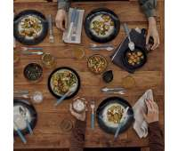 Набор кухонный Victorinox Swiss Modern Table Set 24шт с  син. ручкой (6 ножей steak,6 вилок,6 ложек,6 ложек)